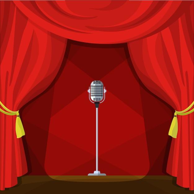 Escena con cortinas rojas y micrófono retro. ilustración del vector en estilo de dibujos animados. Vector Premium