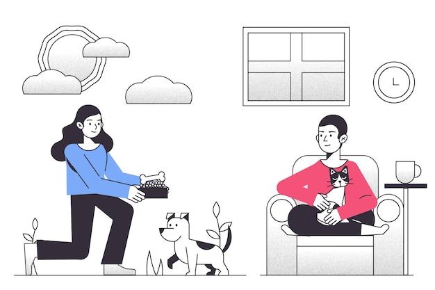 Escena cotidiana con mascotas. vector gratuito