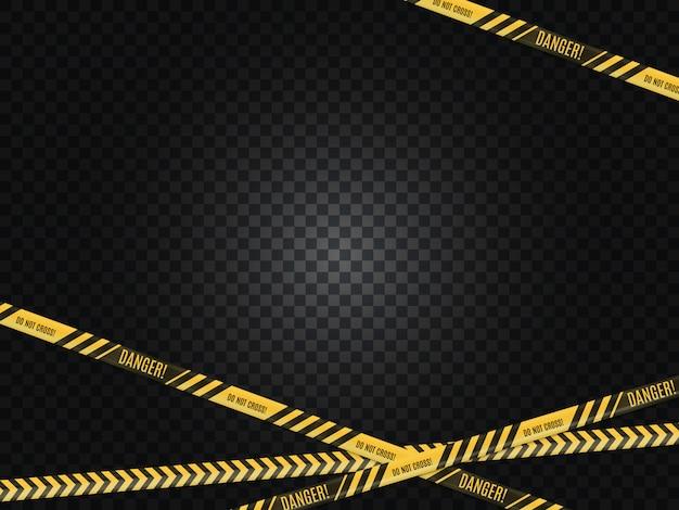Escena del crimen. advertencia de peligro cerca de cinta. Vector Premium