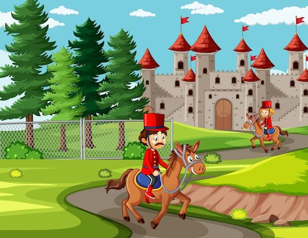Escena de cuento de hadas con castillo y soldado escena de la guardia real. vector gratuito