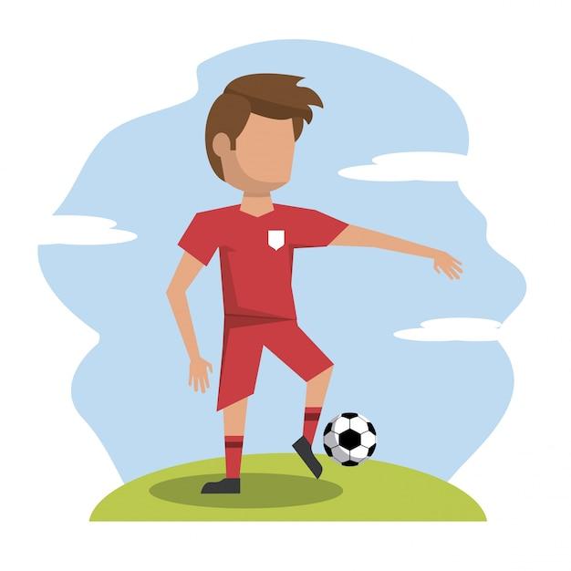 Escena de color con el jugador de fútbol atleta sin rostro ...