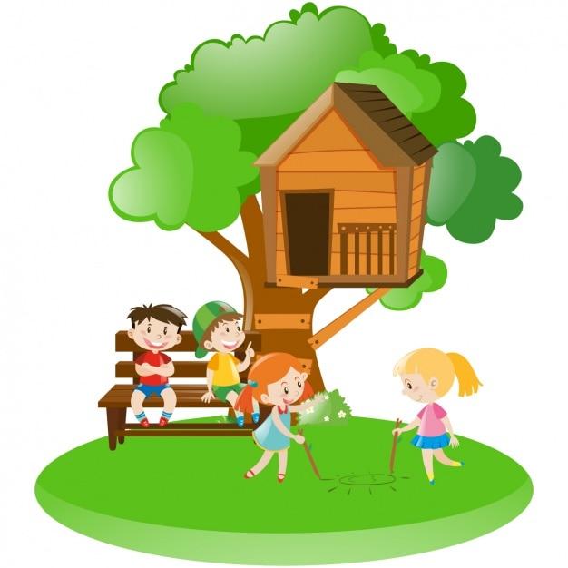 Escena de ni os con una casa en el rbol descargar - Casas en arboles para ninos ...