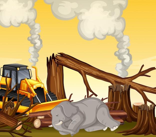 Escena de deforestación con elefante muriendo vector gratuito