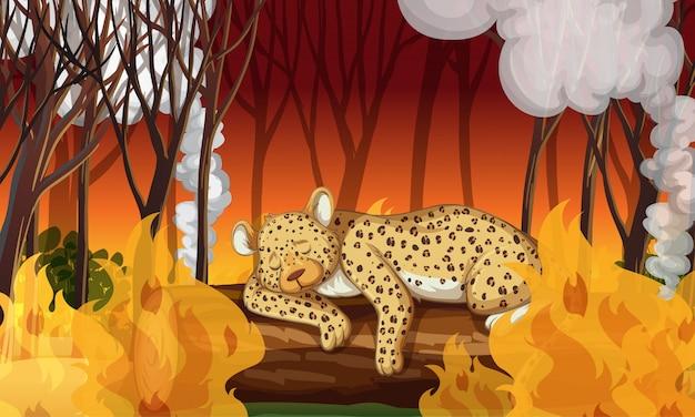 Escena de deforestación con guepardo muriendo en un incendio forestal vector gratuito