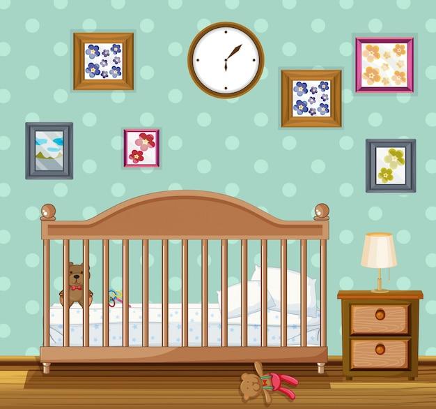 Escena del dormitorio con babycrib y osos | Descargar Vectores Premium