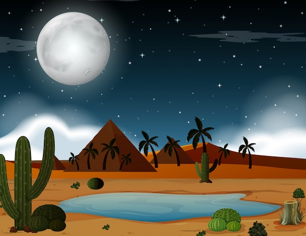 Una escena del desierto en la noche. vector gratuito