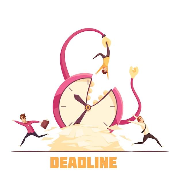 Escena de dibujos animados de desastre fecha límite vector gratuito