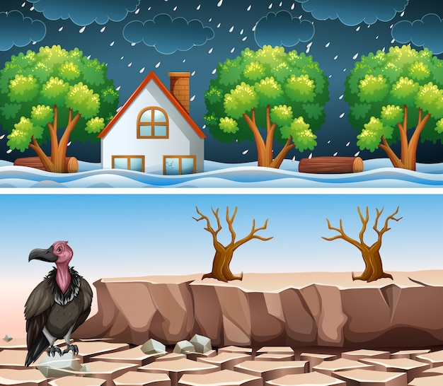 Escena de dos desastres con inundaciones y sequías. vector gratuito