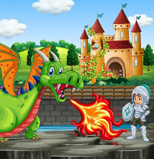 Escena con dragon y caballero Vector Premium