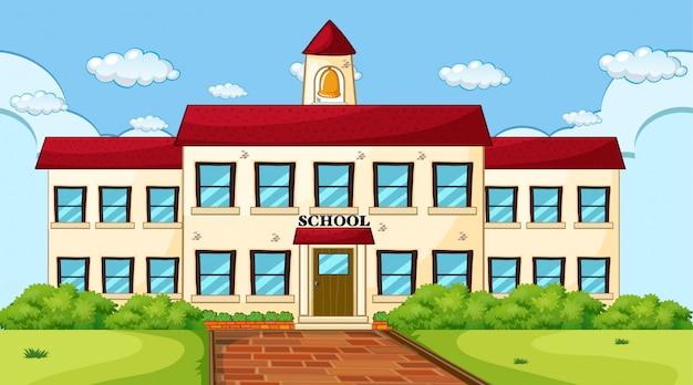Escena del edificio de la escuela grande vector gratuito