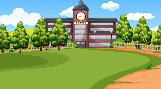 Una escena de la escuela vector gratuito
