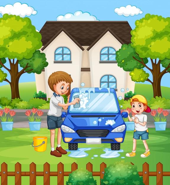 Escena con la familia pasando un buen rato en casa vector gratuito