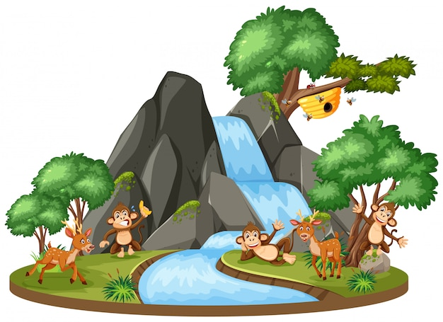Escena de fondo de animales junto a la cascada Vector Premium