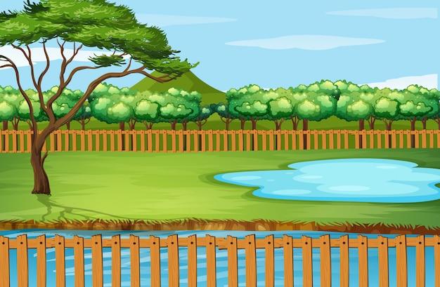 Escena de fondo con árbol y estanque vector gratuito