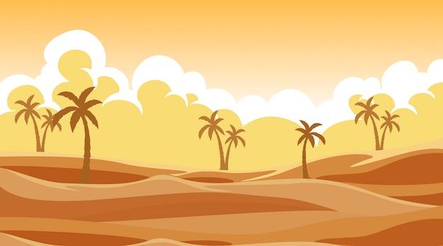 Escena de fondo con árboles en la arena vector gratuito