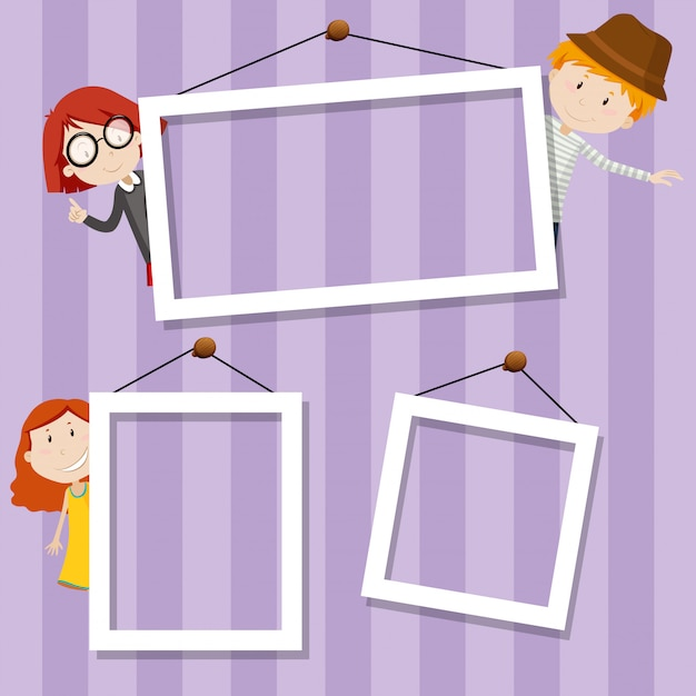 Escena de fondo de marco familiar vector gratuito