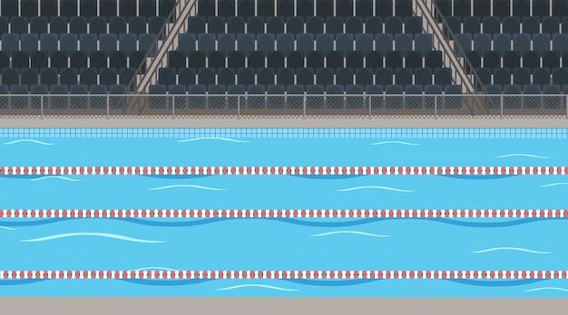 Escena de fondo de la piscina con estadio vector gratuito