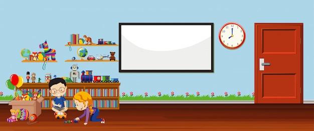 Escena de fondo con pizarra y juguetes vector gratuito