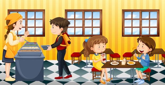 Escena con gente comiendo en la cantina. vector gratuito