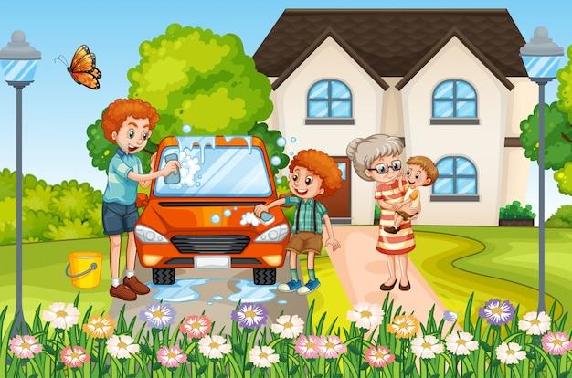 Escena con gente en familia relajándose en casa vector gratuito