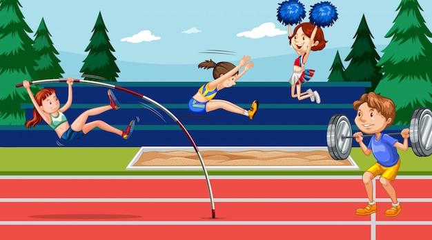 Escena con gente haciendo deportes de atletismo Vector Premium