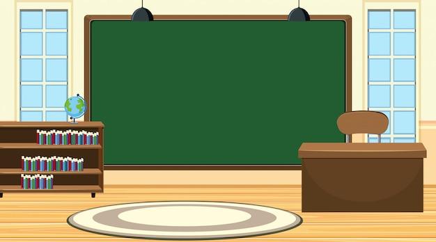 Escena con gran pizarra y escritorio de profesor Vector Premium