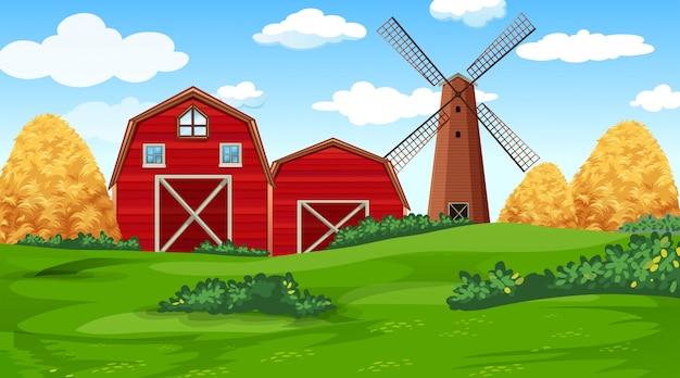 Escena de la granja en la naturaleza con granero vector gratuito