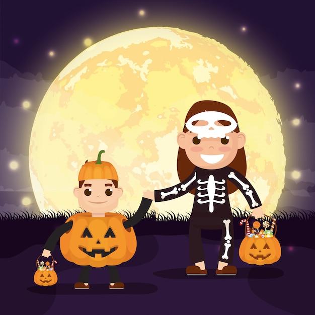 Escena de halloween con calabazas y katrina disfrazada de niño vector gratuito