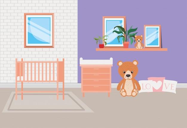 Escena hermosa habitación de cama de bebé vector gratuito