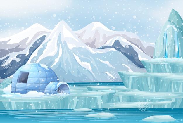 Escena con iglú en la montaña nevada vector gratuito