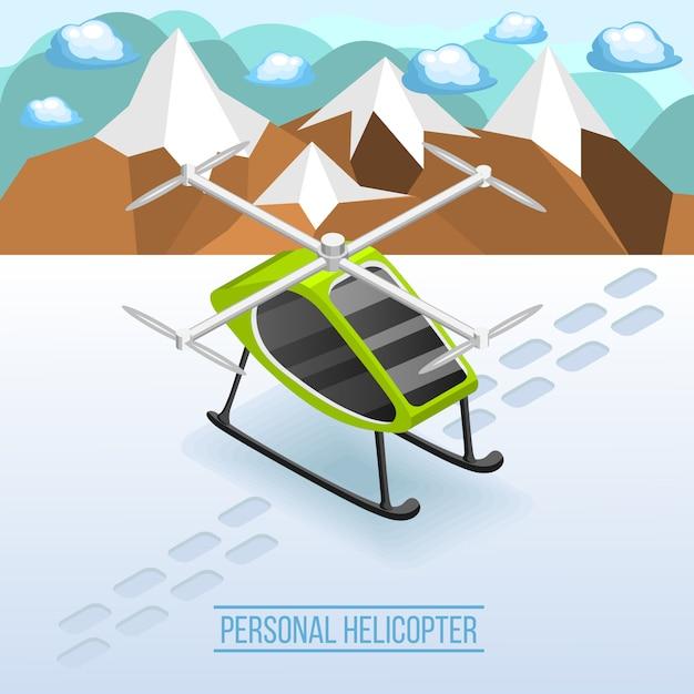 Escena isométrica de helicóptero personal vector gratuito