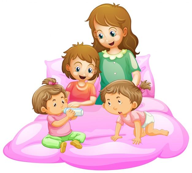 Escena con madre e hijos preparándose para la cama vector gratuito