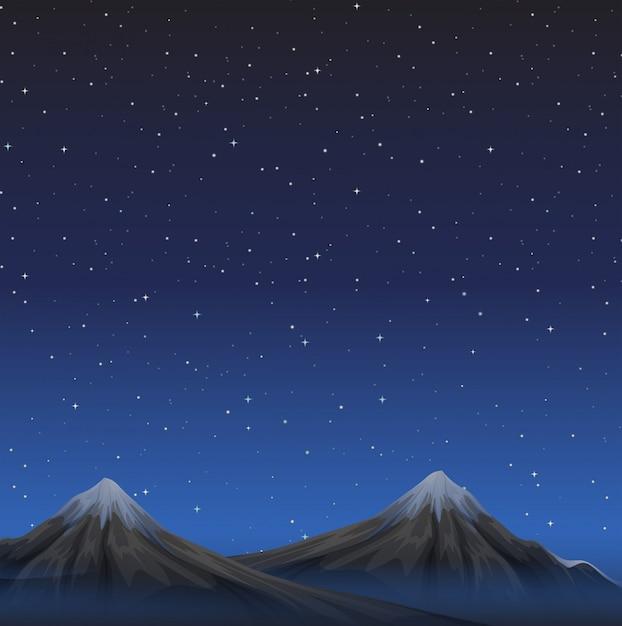Escena con montañas en el fondo de la noche vector gratuito