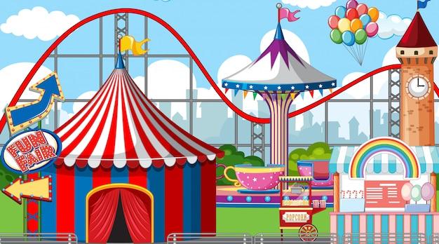 Escena con muchas atracciones de circo durante el día. vector gratuito