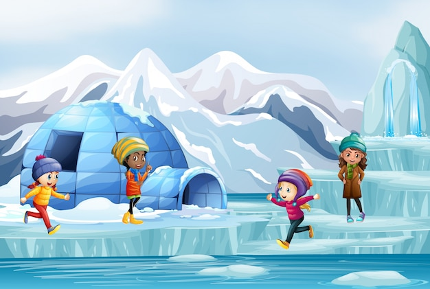 Escena con muchos niños jugando en hielo vector gratuito