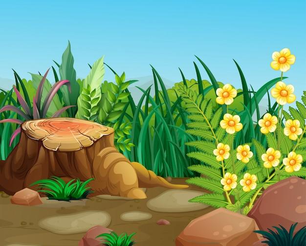 Escena de la naturaleza con flores amarillas en jardín vector gratuito