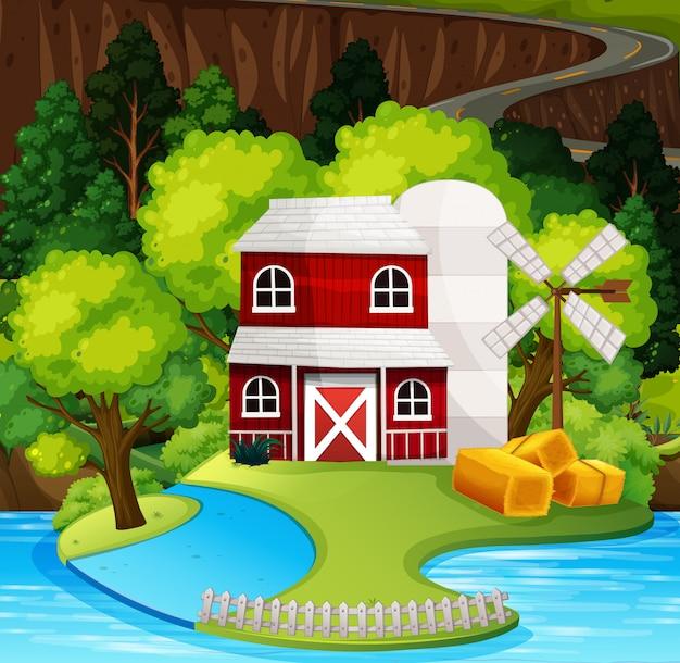 Escena de naturaleza granero rojo vector gratuito