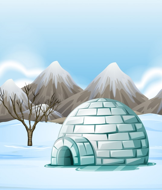 Escena de la naturaleza con iglú en el suelo. vector gratuito