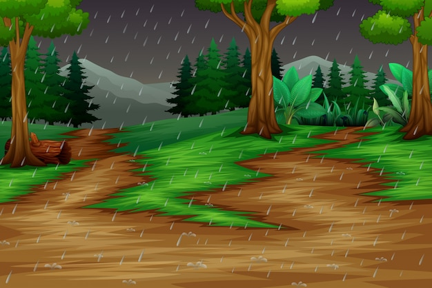 Escena de la naturaleza con la lluvia en el fondo del bosque Vector Premium