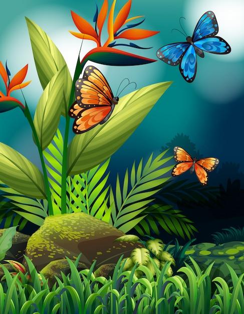 Escena de la naturaleza con mariposas monarca en la noche vector gratuito