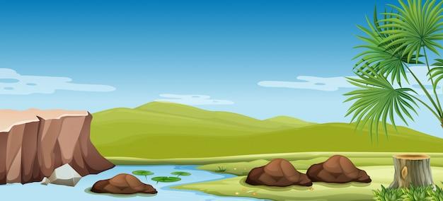 Escena de la naturaleza del río y el campo. vector gratuito