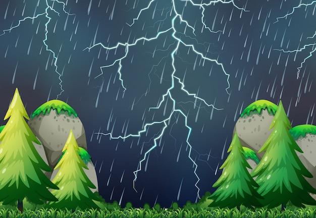 Una escena de la naturaleza tormenta. vector gratuito