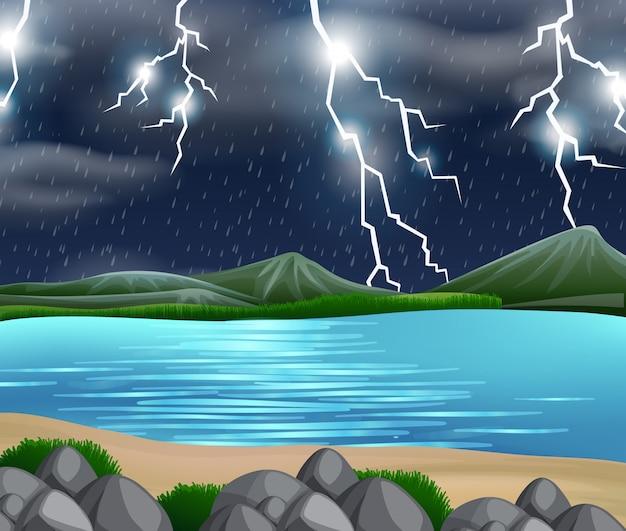 Una escena de la naturaleza de la tormenta. vector gratuito