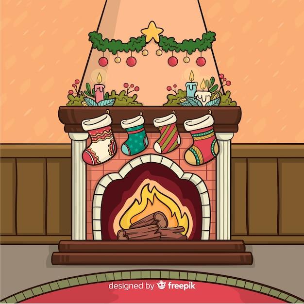 Dibujos Chimeneas De Navidad.Escena Navidad Chimenea Dibujos Animados Descargar