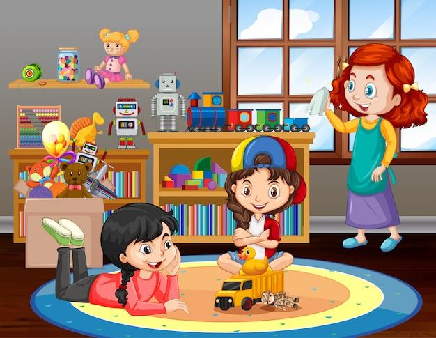 Escena con niñas jugando en la sala de estar en casa vector gratuito