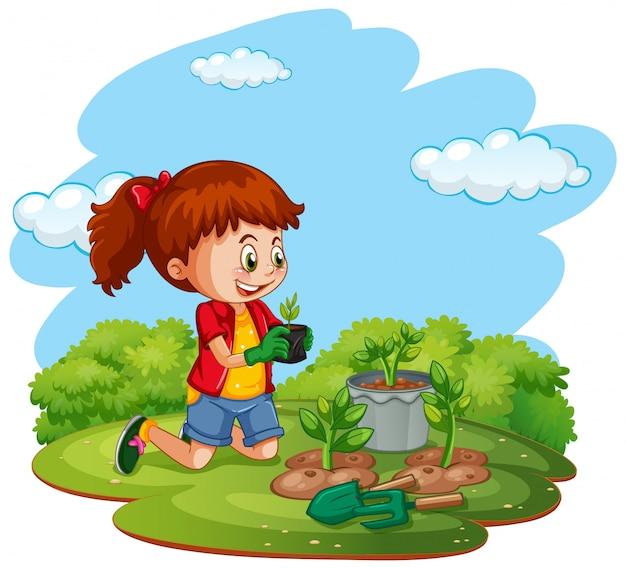 Escena con un niño plantando árboles en el jardín vector gratuito