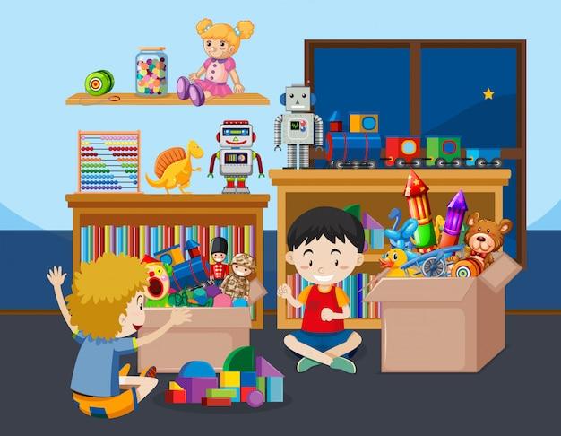 Escena con niños jugando en la habitación vector gratuito