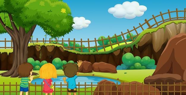 Escena con niños en el parque vector gratuito