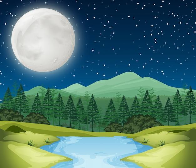 Una escena nocturna de rio vector gratuito