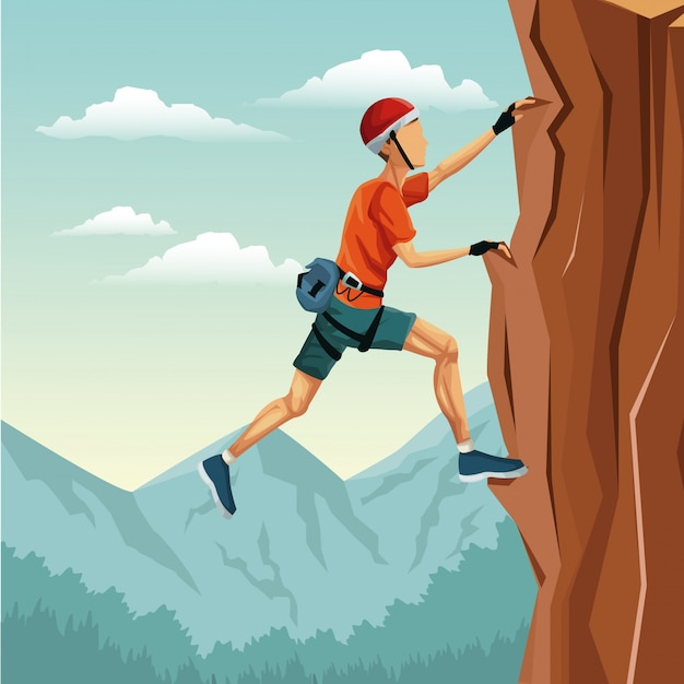 2395703c776 Escena paisaje hombre escalada montaña sin equipo   Descargar ...